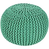 20'' x 14'' Hermosa Peppermint Green Hand Crafted Cotton Round Pouf Ottoman