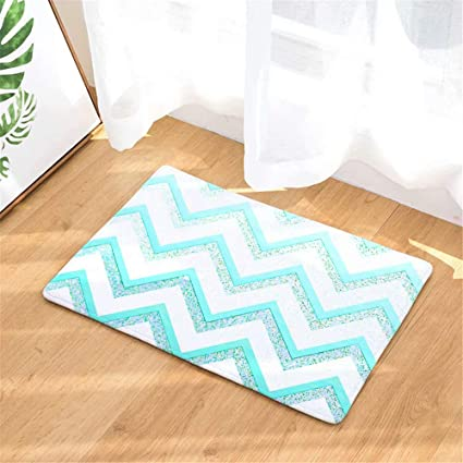 Amazon Com Sparkling Mint Blue Zig Zag Stripe Front Door Mat