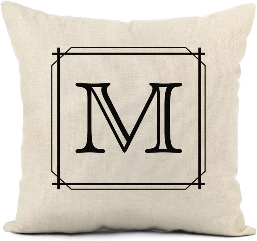 Fall Farmhouse Pillow Cover 16 Inches x 16 Inches Monogram Cushion Cover Personalized Fall Decor