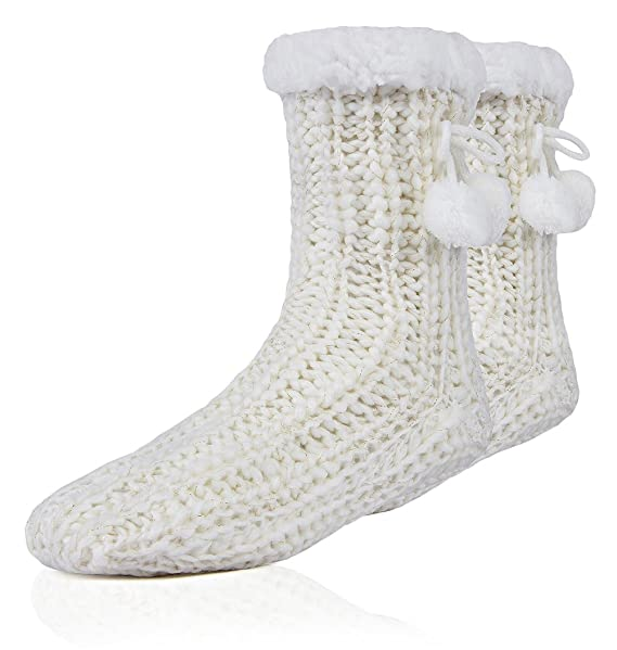 MaaMgic Womens Christmas Fuzzy Slipper Sock Ladies Warm Funny Cable Knit  Socks With Grips
