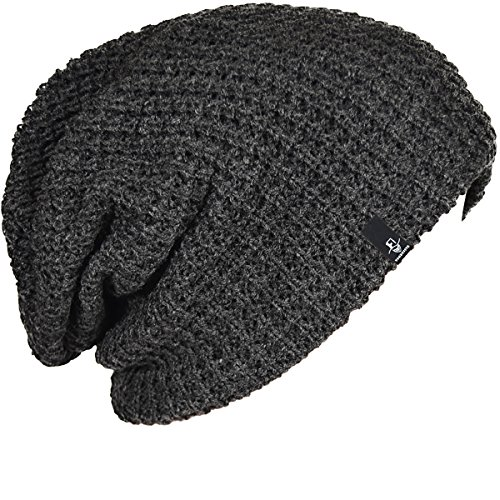 FORBUSITE Mens Slouchy Long Beanie Knit Cap for Summer Winter, Oversize, Charcoal Grey
