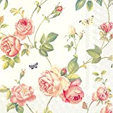 Celebrate the Home New Rambling Rose3-Ply Paper Cocktail Napkins, Cream, 20 Count