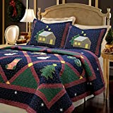 Christmas Night 3-piece Bedding Quilt Set with 2 Standard Sham, Reversible Cotton Coverlet Bedspread, Machine Washable, Gifts for Family on Holiday. (Christmas Night, Twin - 2 piece)