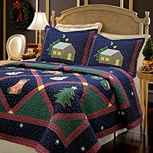 Christmas Night 3-piece Bedding Quilt Set with 2 Standard Sham, Reversible Cotton Coverlet Bedspread, Machine Washable, Gifts for Family on Holiday. (Christmas Night, King - 3 piece)