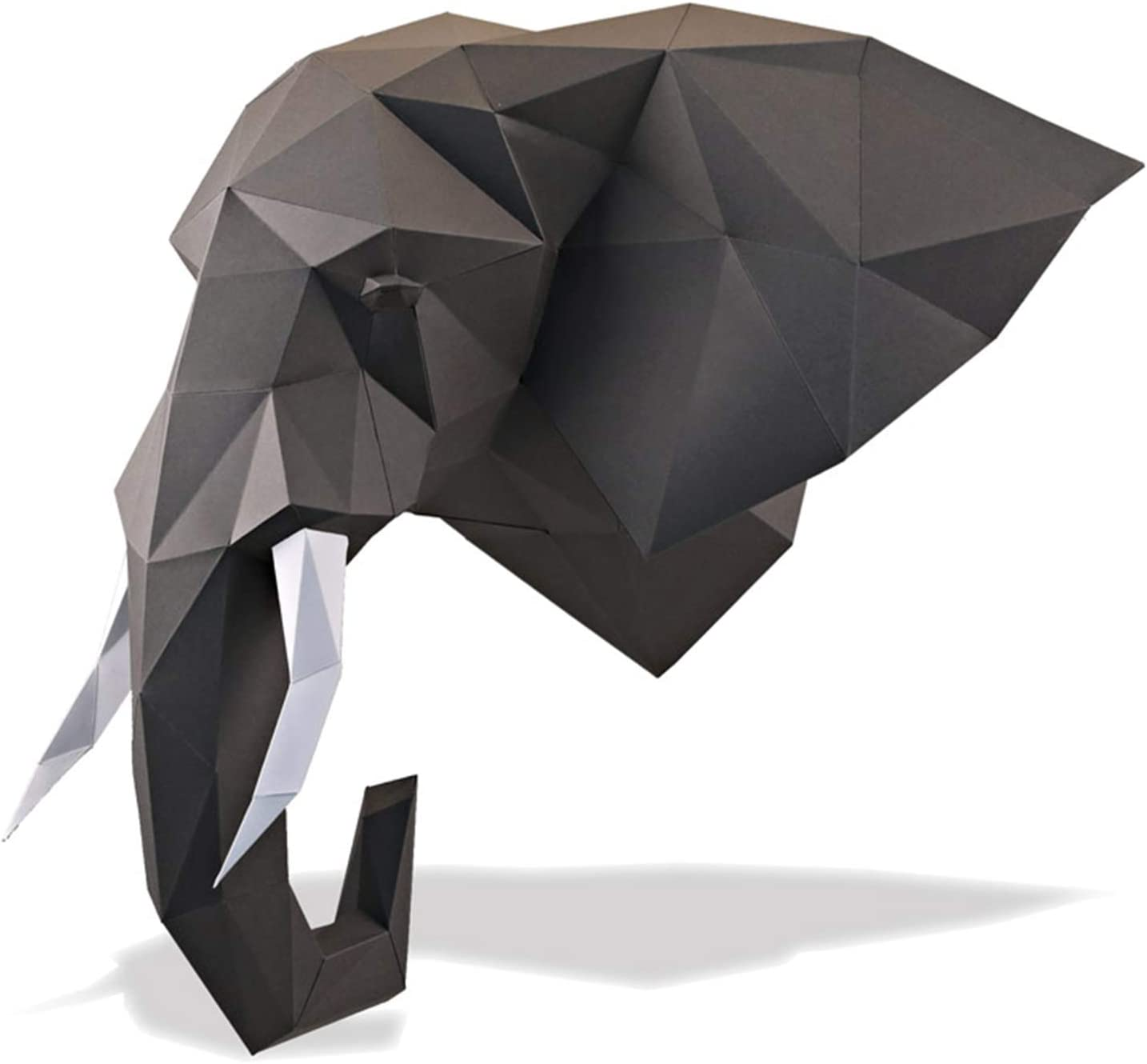 Paperraz DIY 3D Elephant Head Animal PaperCraft Building Kit Wall Mount - NO Scissors Needed