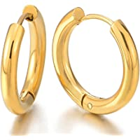 Pair Stainless Steel Gold Color Plain Circle Huggie Hinged Hoop Earrings for Men Women