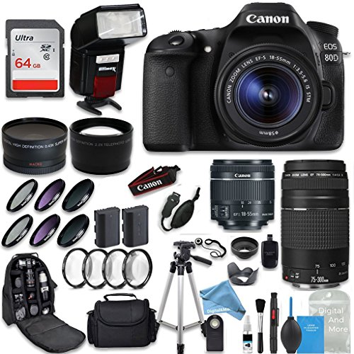 amera + Canon EF-S 18-55mm + Canon EF 75-300mm Lens + 0.43 Wide Angle & 2.2 Telephoto Lens + Macro Filter Kit + 64GB Memory Card + DigitalAndMore PRO Accessory Bundle (Expandable Media Frame)
