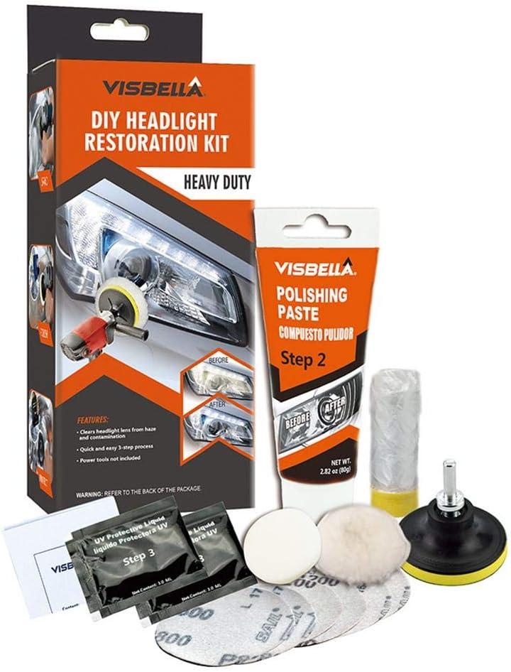 dewdropy Kit Pulir Faros Coche, Kit De Pasta De Pulido De Faros Herramientas De Restauración De Faros para El Cuidado del Automóvil