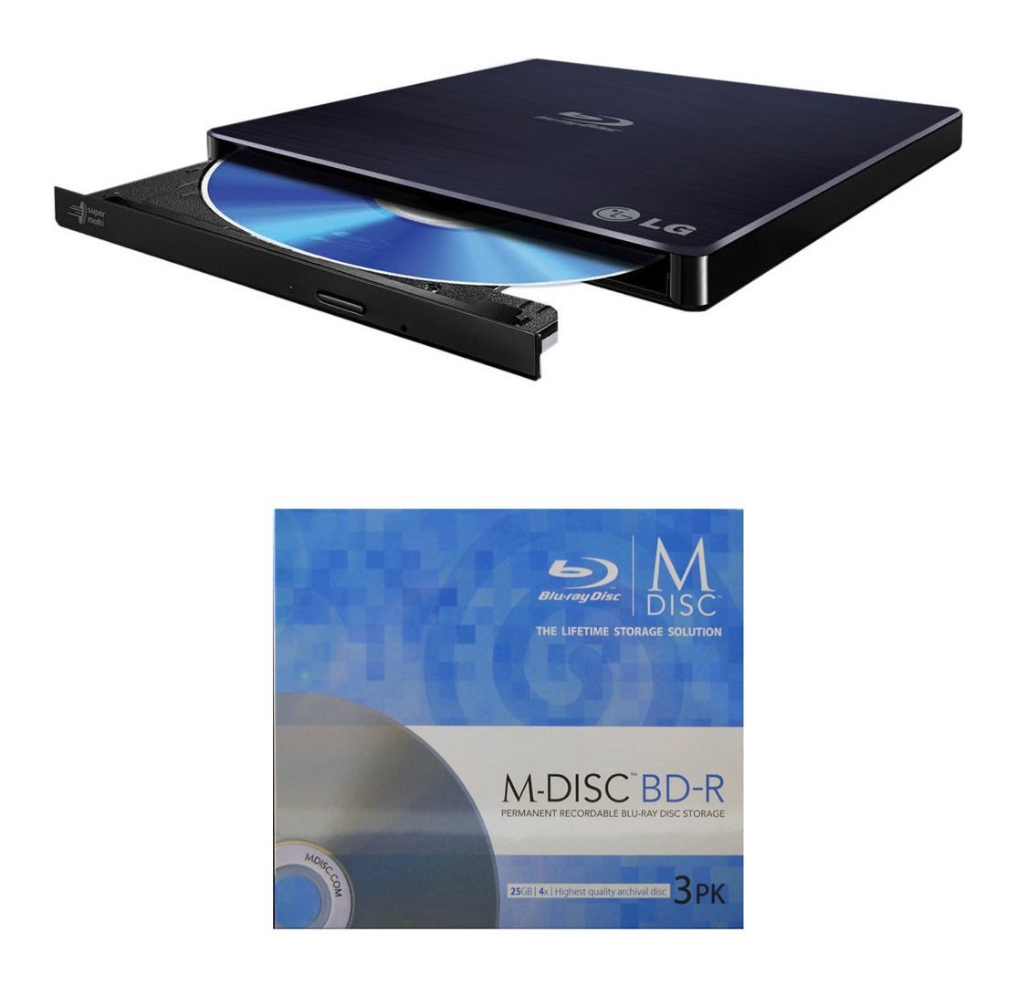 Black, Retail Mac OS X Compatible LG 6x WP50NB40 Ultra Slim Portable Blu-ray Writer Bundle with 1 Pack M-DISC BD Supports M-DISC and BDXL Discs