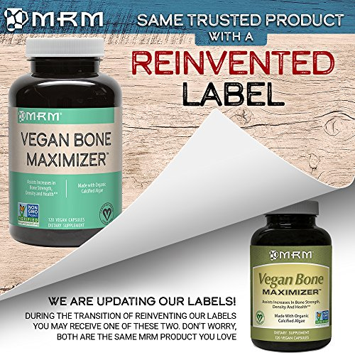 MRM - Vegan Bone Maximizer, Supports Bone Strength, Density and Health, Made From Organic Certified Algae (120 Vegan Capsules)