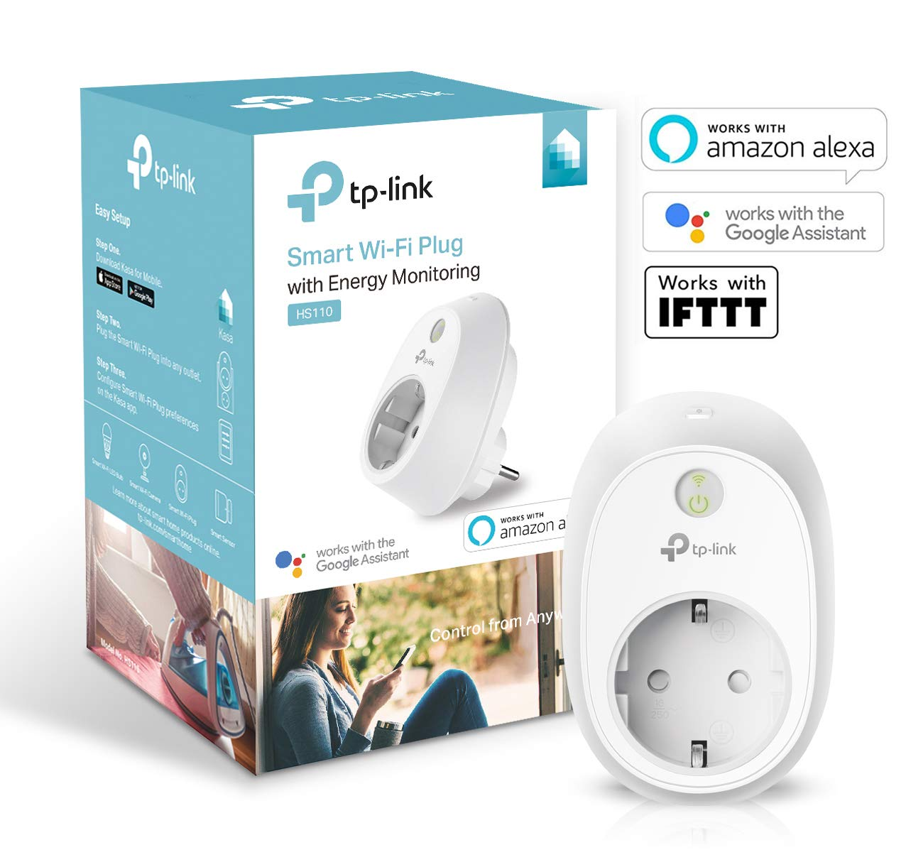 TP-LINK HS110 - Enchufe Inteligente inalámbrico con monitorización de energía, controle sus dispositivos