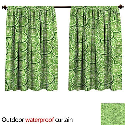 (BlountDecor UPF Outdoor curtainAnti-Water W55 x L45(140cm x 116cm) Food,Sliced Ripe Limes Fresh Fruit)