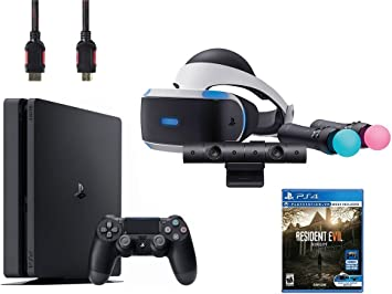 Amazon Com Playstation Vr Bundle 5 Items Vr Headset Playstation Camera Playstation Move Motion Controllers Sony Ps4 Slim 1tb Console Jet Black Vr Game Disc Resident Evil 7 Biohazard Electronics