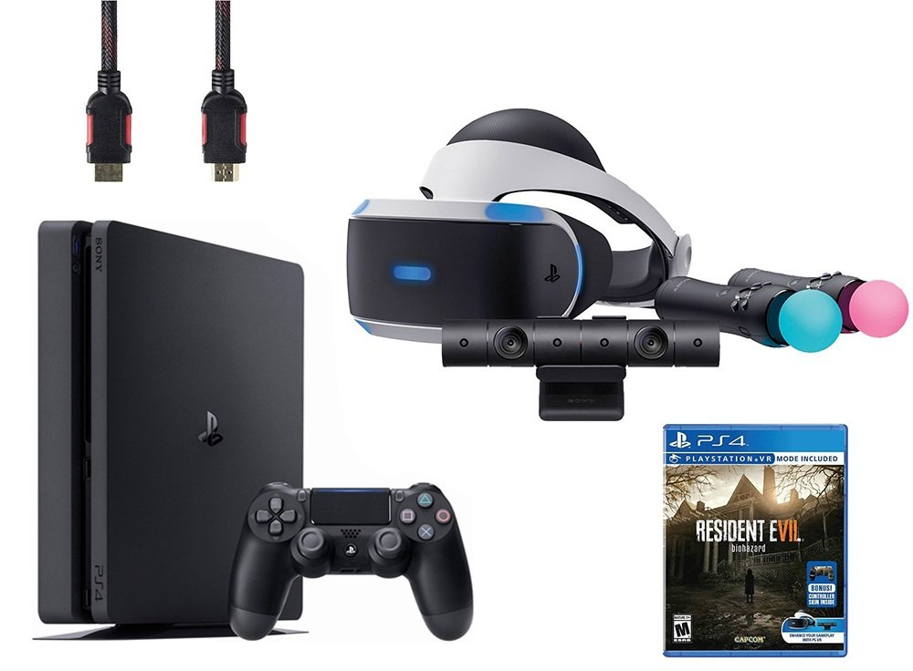 PlayStation VR Bundle 5 Items:VR Headset,Playstation Camera,Playstation Move Motion Controllers,Sony PS4 Slim 1TB Console - Jet Black,VR Game Disc Resident Evil 7:Biohazard