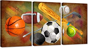 ZingArts 3 Pieces Sports Canvas Wall Art Rustic Soccer Football Baseball Basketball Sports Themed Artwork on Vintage Colorful Background Stretched and Framed For Home Kids Room Decor Ready To Hang