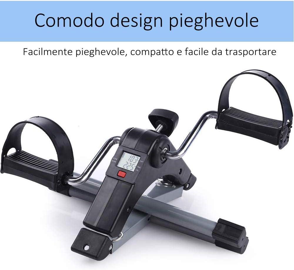 DOBO Mini Cyclette casa Trasporto Pedali Riabilitazione Gambe Braccia pedaliera Ginnastica Pieghevole Trainer Display Digitale Cardio esercitatore Allenamento Regolabile