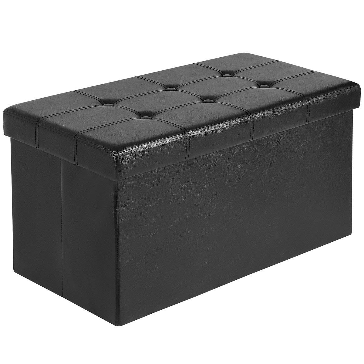 AuAg  30'' Folding Storage Ottoman Bench Faux Leather Toy Box/Chest Window Padded Seat Foot Rest Storage Easy to Assemble (Black, 30'') by AuAg