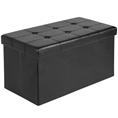 Ulikit 30  Folding Storage Ottoman Bench Faux Leather Toy Box/Chest Window Padded Seat Foot Rest Storage Easy to Assemble (Black, 30 )