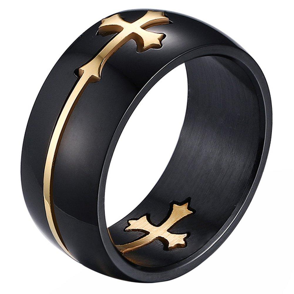 JewelryWe Bijoux Bague Homme Croix Acier Inoxydable Anneaux Fantaisie pour Homme Couleur Noir Or (Taille Optionnel) JW530001