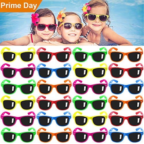 Kids Sunglasses Party Favors, 24Pack Neon Sunglasses for Kids,Boys and Girls, Great Gift for Birthday Party Supplies, Beach, Pool Party Favors, Fun Gift, Party Toys, Goody Bag Favors - 80's Party Accessories -