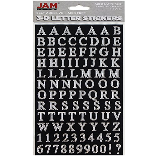 JAM PAPER Self Adhesive Alphabet Letter Stickers - Silver - Upper & Lower Case - 2 - Letters Scrapbooking Stickers Alphabet