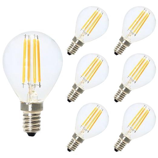 6X E14 Bombillas de Filamento Globo LED G45 E14 4W Blanco Calido 2700K Diametro 45MM Equivalencia