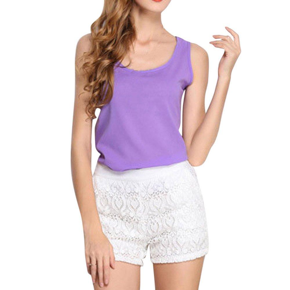 JFLYOU Basic Tank Top for Women,Loose Chiffon Sleeveless O Neck Solid Shirt Tops(Purple,XXXL)
