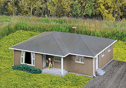 Walthers, Inc. Brick Ranch House Kit, 3-1/16 X 2-9/32 x 1-1/4