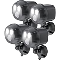 Mr. Beams MB394-BRN-04-13 Mr Beams MB394 400 lm Weatherproof Wireless Battery Powered Led Ultra Bright Spotlight with Motion Sensor, 4 Pack, of 400 lm, Brown