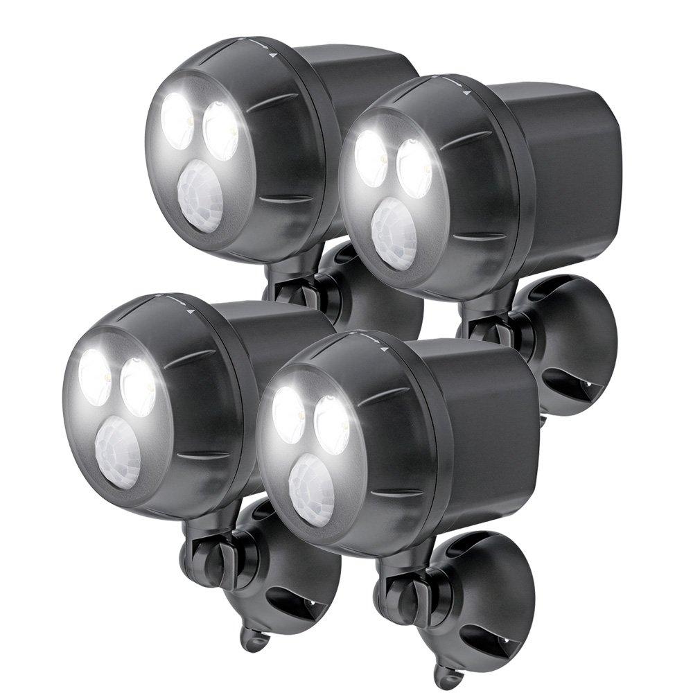 Mr. Beams MB394, 400 Lumen Version, Weatherproof Wireless Battery Powered Led Ultra Bright Spotlight with Motion Sensor, 4-Pack, Brown by Mr. Beams