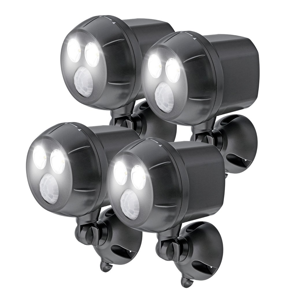 Mr. Beams MB394, 400 Lumen Version, Weatherproof Wireless Battery Powered Led Ultra Bright Spotlight with Motion Sensor, 4-Pack, Brown by Mr. Beams