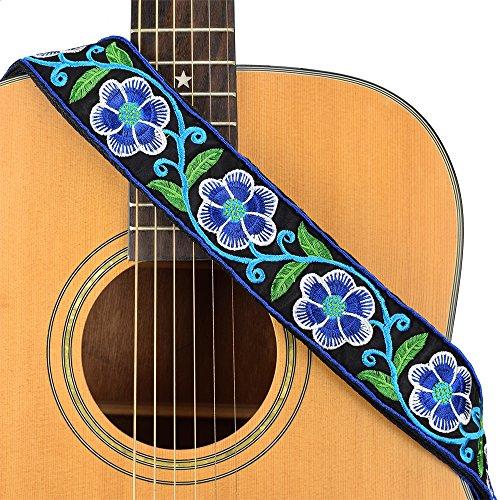 rap Jacquard Weave Strap With Leather Ends Vintage Classical Pattern Design Guitar Picks Free (Blue Petal Flowers) ()