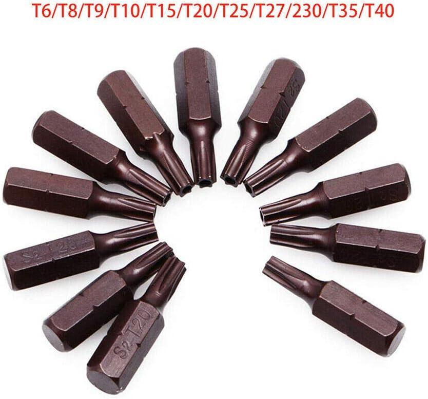 pour tournevis pneumatiques et /électriques 6.3mm taille de tige hexagonale 12PCS Embouts de tournevis torx magn/étique solide taille de pointe T25