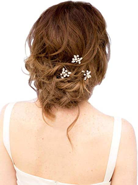 Venusvi Wedding Hair Pins For Bridal Decorative Wedding Hair Pin Accessories For Brides And Bridesmaids Pack Of 3