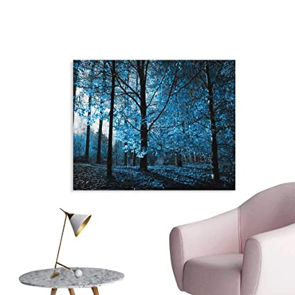 Amazon.com: Anzhutwelve Woodland Wallpaper One September Afternoon in Woodland Autumn Nature Artistic Stylized Picture Print Cool Poster Blue Black W32 ...