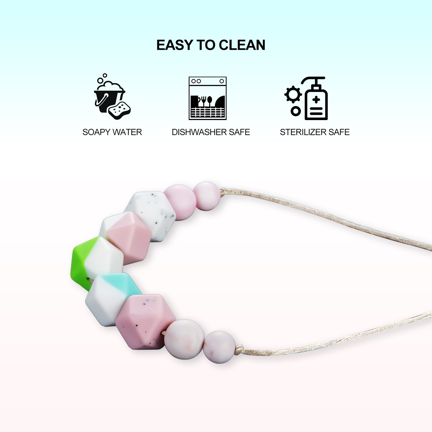 Kitdine Teething Necklace for Babies Mon Wear Silicone Nursing Necklace BPA Free Baby Teething Toys Food Grade Teether (Multiclolor)