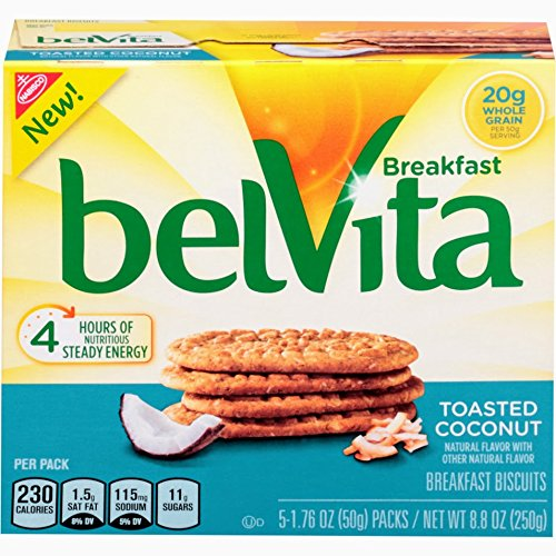 Belvita Toasted Coconut Breakfast Biscuits, 5 Count Box, 8.8 Ounce (Pack of 6)