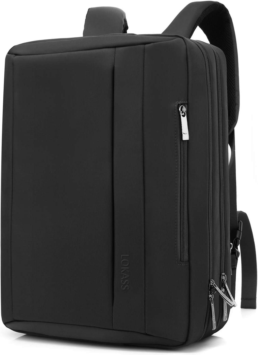 LOKASS Convertible Laptop Bag Messenger Bag Shoulder Bag Backpack Multi-Functional Briefcase Fits 17.3 Inches Laptop for Men Women Black