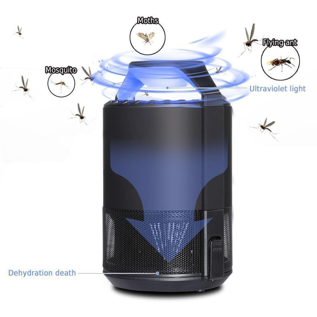 LiPing Indoor Outdoor Use USB Powered Non-toxic LED Mosquito Lamp-, Fly Bug Insect Killer for Porch Deck Patio Backyard Mosquito Killer Lamp,UV Light (A)