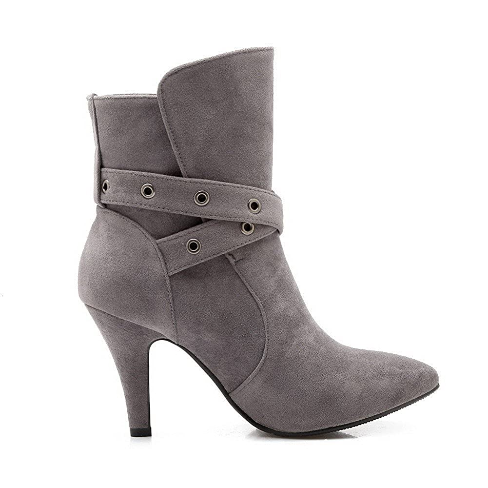 AmoonyFashion Womens Frosted Zipper Pointed Closed Toe Spikes Stilettos Solid Boots