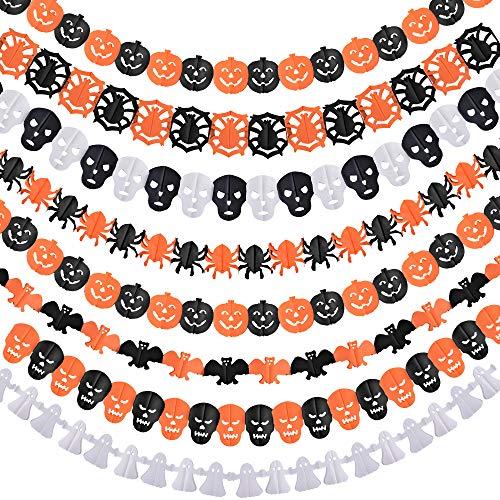 (Coopay 8 Set Halloween Paper Garlands Decoration Prop Pumpkin Spider Bat Ghost Skull Shape for Halloween Indoor Outdoor Party)