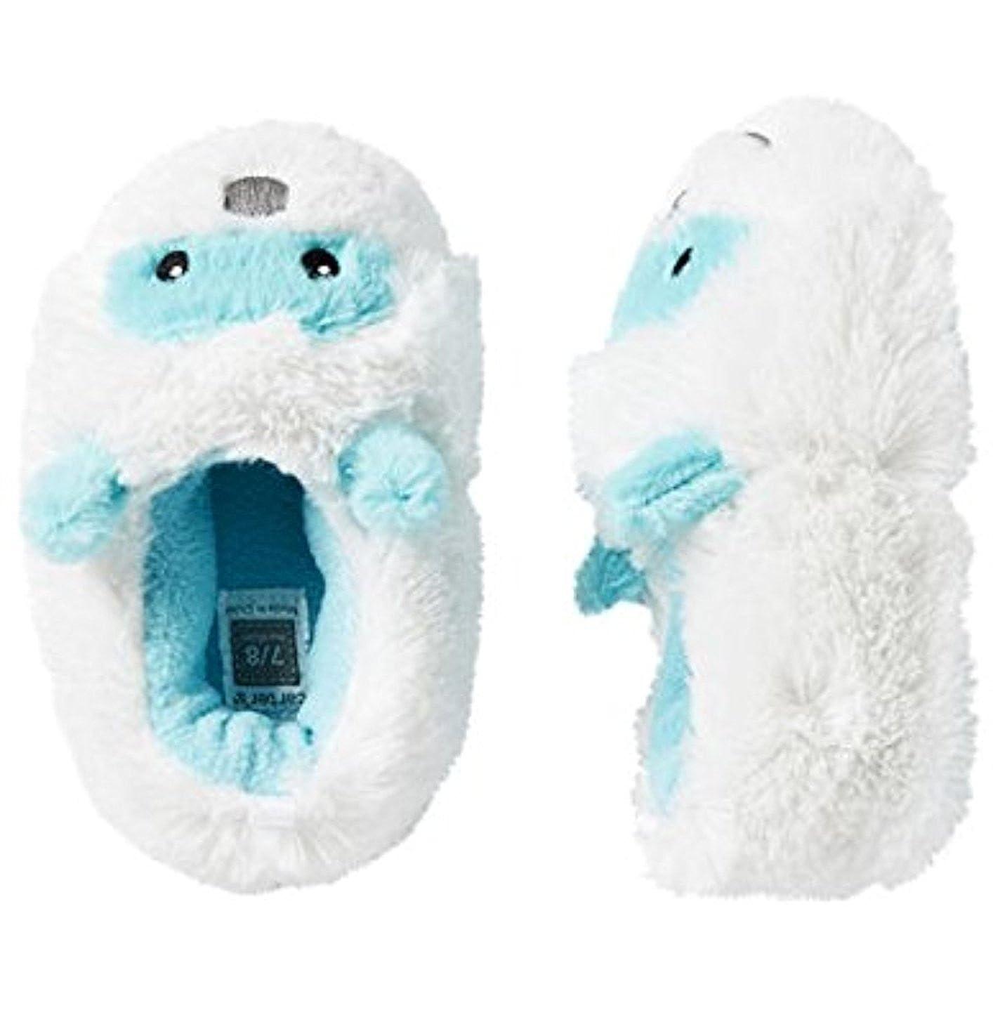 Carter's Unisex Monster Slippers XL 11 12 White Blue