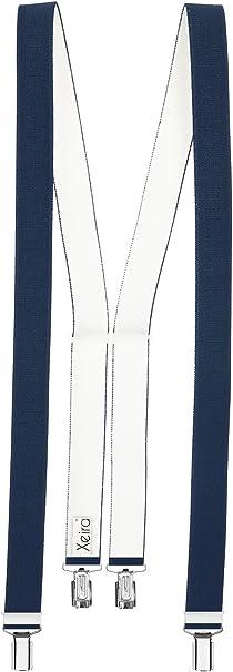 Xeira Tirantes de 25 mm de ancho para hombres y mujeres con 3 clips y respaldo de cuero real