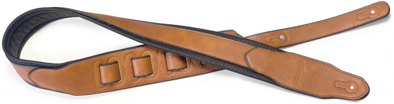 Stagg SPFL 40 HON Padded Leather Style Guitar Strap, Honey by Stagg