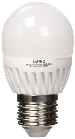 LightED Bombilla LED Esférica, 3000 K E27, 9 W, Blanco, 45 x