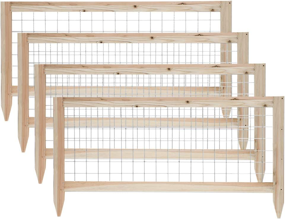 GROWNEER 12 Packs Total Wooden Garden Fence Critter Guard Cedar Garden Fence Decorative Outdoor Fence, 45 x 23.6 Inches