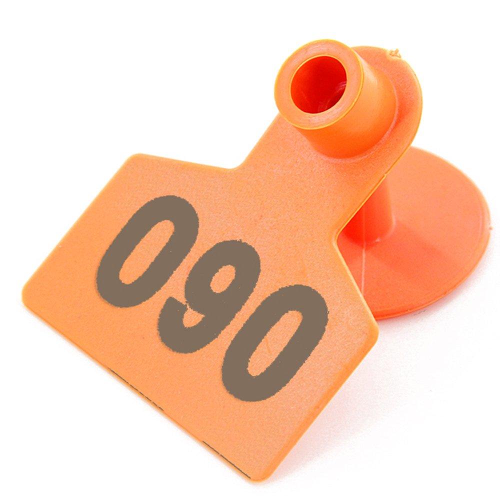 No 0001-1000 Pig Ear Tag Laser Typing Copper Head Farm Animal Identification Card Custom Ear Tag (Orange)