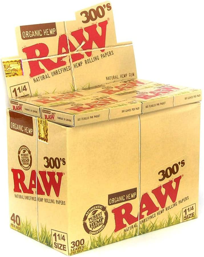 RAW, ES Distributions 300 Organic 1.25 1 1/4 Size Rolling Papers 5 Pack = 1500 Leaves, Tan, 300 Count (Pack of 5)