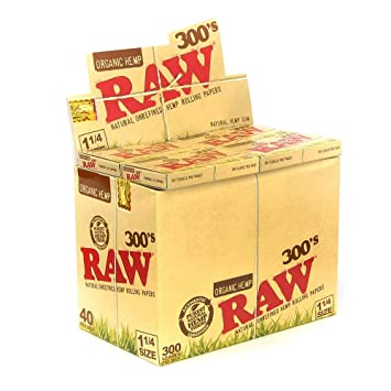 Raw 300 Organic 1 25 1 1/4 Size Rolling Papers 5 Pack = 1500 Leaves