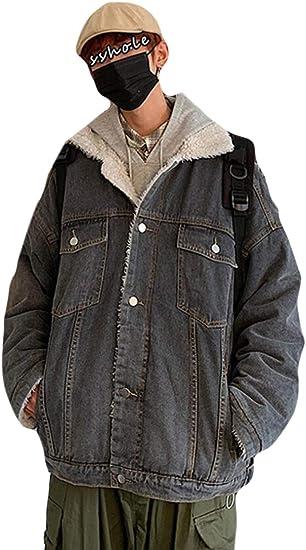 PPEIREEメンズ デニム コート トップス 起毛 コート 防寒 あったか アウター メンズ もこもこ コート ジャケット 秋 冬用 おしゃれ コート ゆったり コート